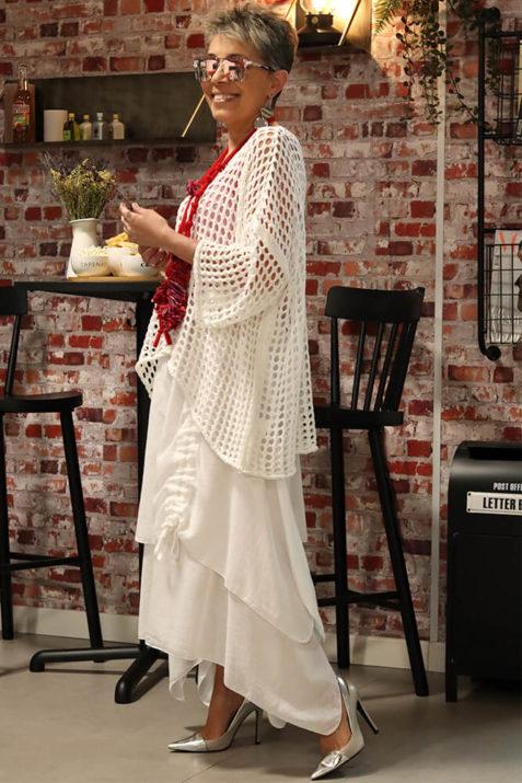 Falda larga de algodón realizada en dos capas de corte asimétrico